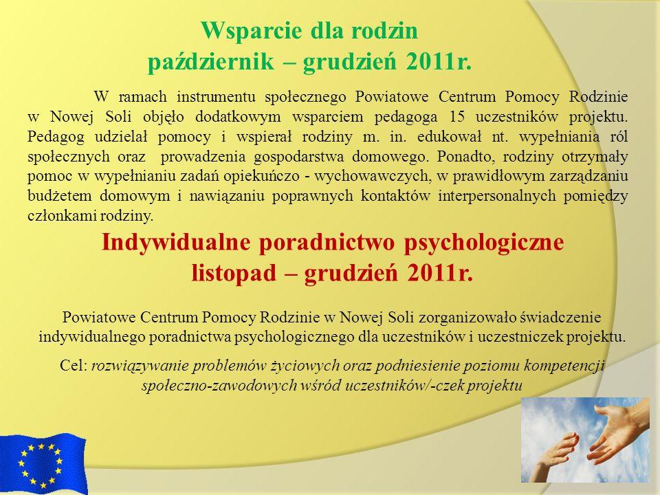 Indywidualne poradnictwo psychologiczne listopad – grudzień 2011r. Powiatowe Centrum Pomocy Rodzinie w Nowej Soli zorganizowało świadczenie indywidual