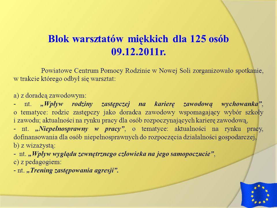 Blok warsztatów miękkich dla 125 osób 09.12.2011r. Powiatowe Centrum Pomocy Rodzinie w Nowej Soli zorganizowało spotkanie, w trakcie którego odbył się