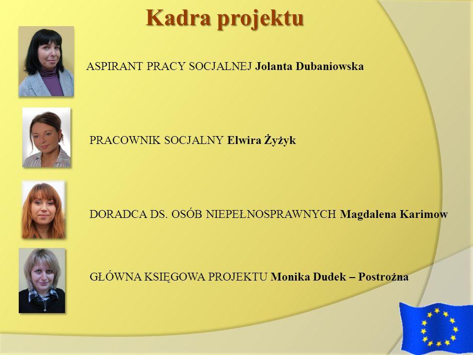 Kadra projektu PRACOWNIK SOCJALNY Elwira Żyżyk DORADCA DS. OSÓB NIEPEŁNOSPRAWNYCH Magdalena Karimow GŁÓWNA KSIĘGOWA PROJEKTU Monika Dudek – Postrożna