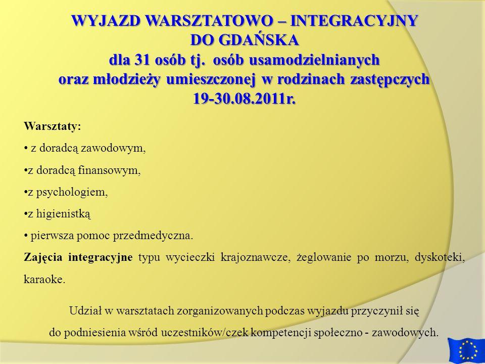 WYJAZD WARSZTATOWO – INTEGRACYJNY DO GDAŃSKA dla 31 osób tj. osób usamodzielnianych oraz młodzieży umieszczonej w rodzinach zastępczych 19-30.08.2011r