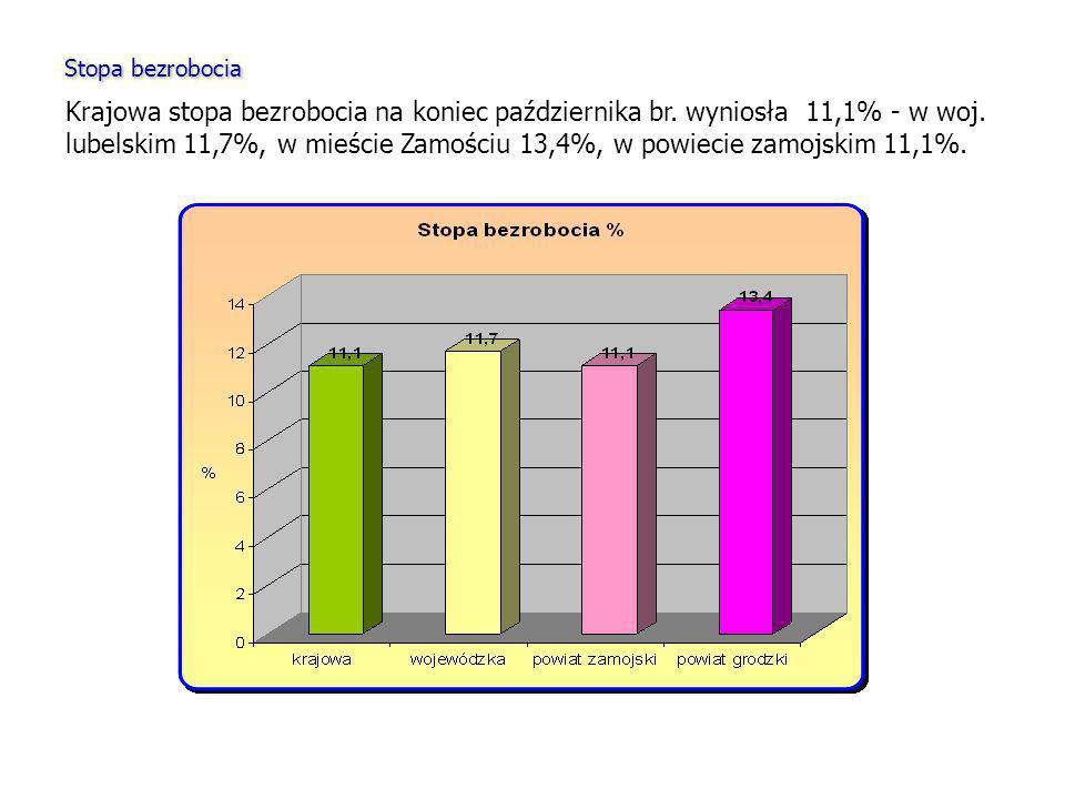 Stopa bezrobocia Krajowa stopa bezrobocia na koniec października br. wyniosła 11,1% - w woj. lubelskim 11,7%, w mieście Zamościu 13,4%, w powiecie zam