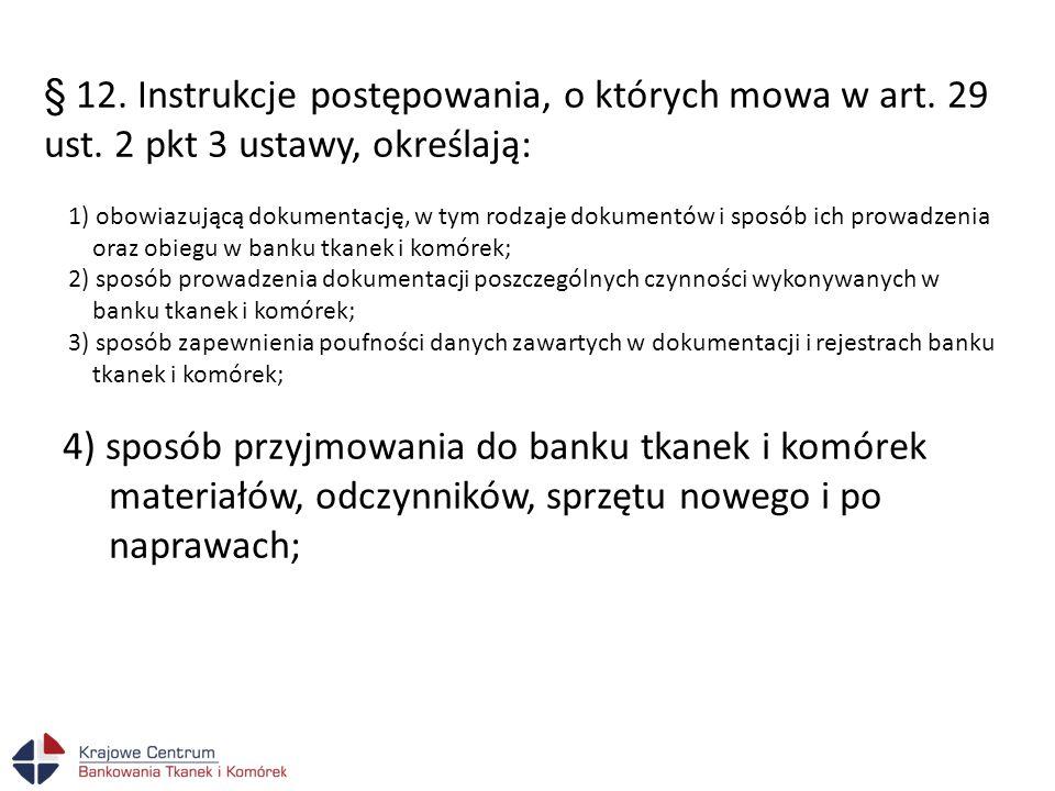 § 12. Instrukcje postępowania, o których mowa w art. 29 ust. 2 pkt 3 ustawy, określają: 1) obowiazującą dokumentację, w tym rodzaje dokumentów i sposó