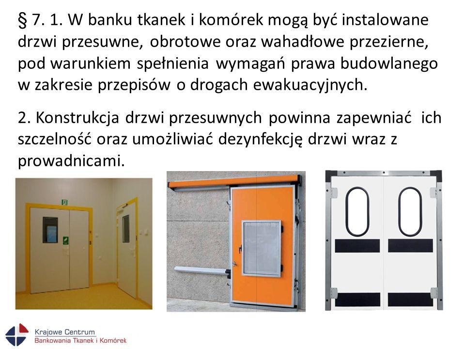 § 7. 1. W banku tkanek i komórek mogą być instalowane drzwi przesuwne, obrotowe oraz wahadłowe przezierne, pod warunkiem spełnienia wymagań prawa budo