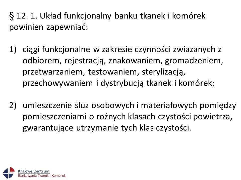 § 12. 1. Układ funkcjonalny banku tkanek i komórek powinien zapewniać: 1)ciągi funkcjonalne w zakresie czynności zwiazanych z odbiorem, rejestracją, z