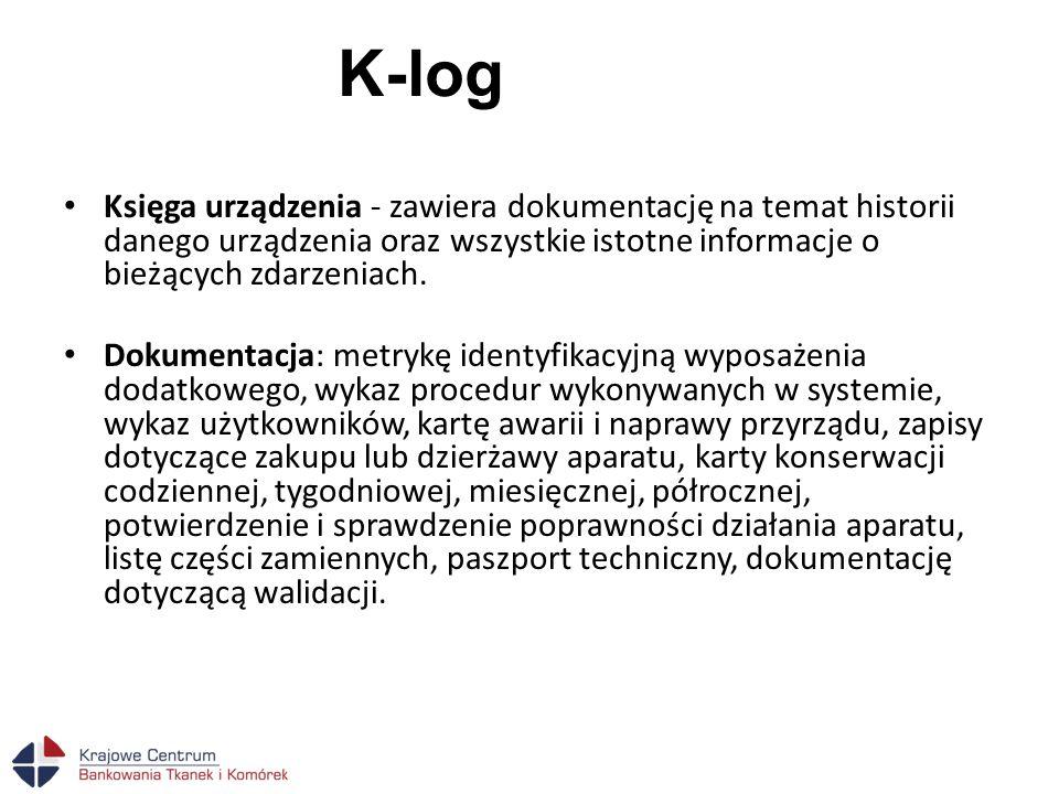 K-log Księga urządzenia - zawiera dokumentację na temat historii danego urządzenia oraz wszystkie istotne informacje o bieżących zdarzeniach. Dokument