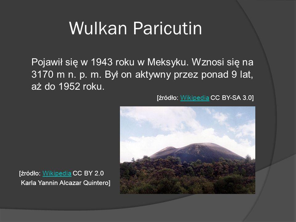 Wulkan Paricutin Pojawił się w 1943 roku w Meksyku. Wznosi się na 3170 m n. p. m. Był on aktywny przez ponad 9 lat, aż do 1952 roku. [źródło: Wikipedi