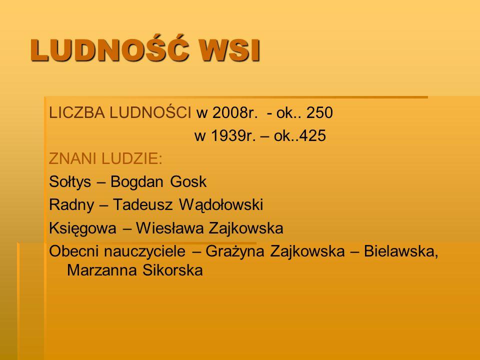 LUDNOŚĆ WSI LICZBA LUDNOŚCI w 2008r. - ok.. 250 w 1939r. – ok..425 ZNANI LUDZIE: Sołtys – Bogdan Gosk Radny – Tadeusz Wądołowski Księgowa – Wiesława Z