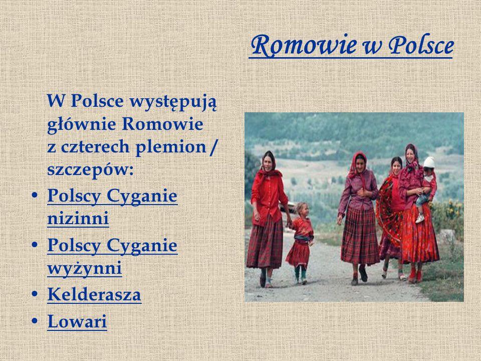 Romowie w Polsce W Polsce występują głównie Romowie z czterech plemion / szczepów: Polscy Cyganie nizinni Polscy Cyganie nizinni Polscy Cyganie wyżynn