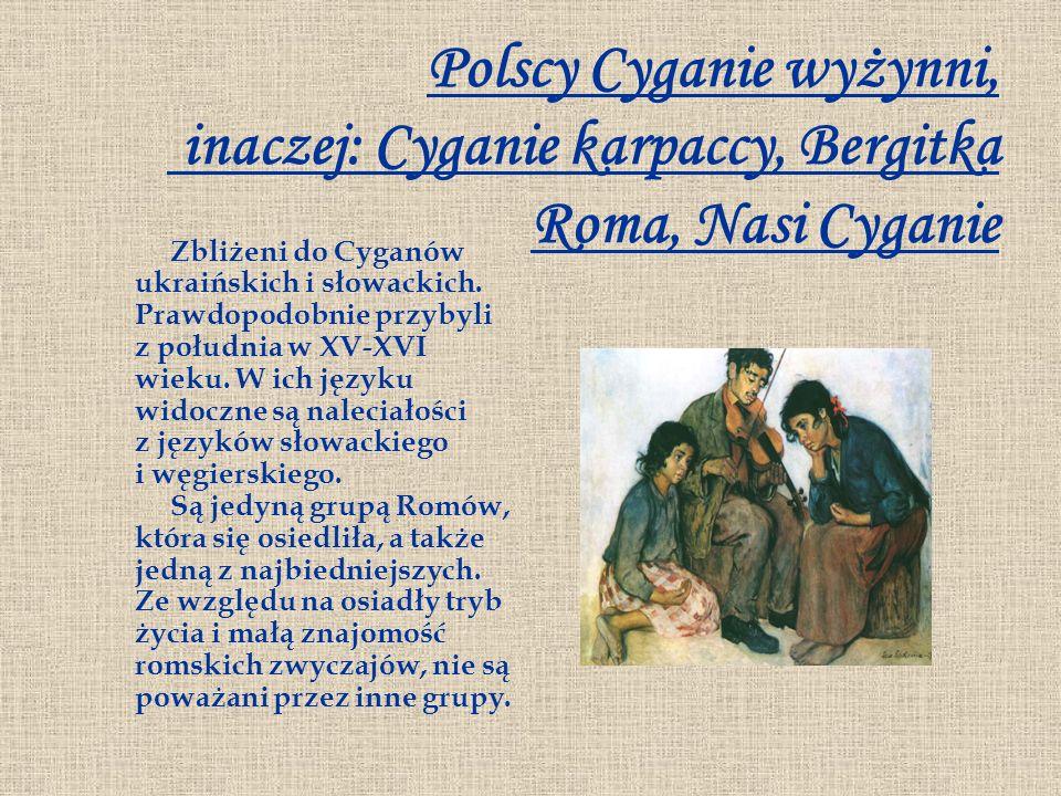 Polscy Cyganie wyżynni, inaczej: Cyganie karpaccy, Bergitka Roma, Nasi Cyganie Zbliżeni do Cyganów ukraińskich i słowackich. Prawdopodobnie przybyli z