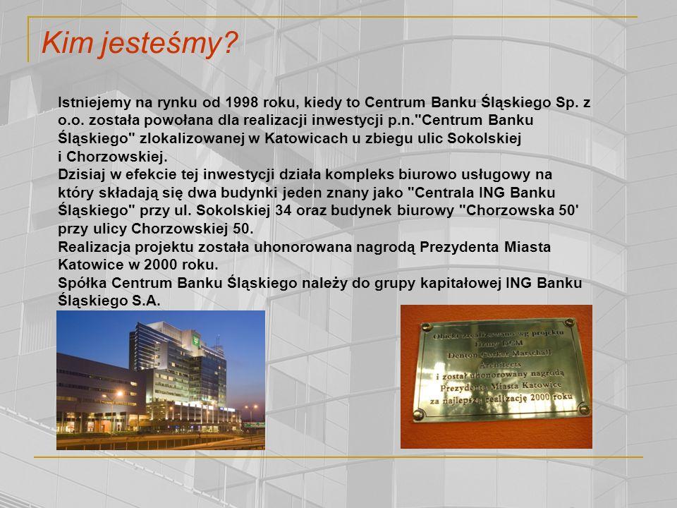 Kim jesteśmy.Istniejemy na rynku od 1998 roku, kiedy to Centrum Banku Śląskiego Sp.