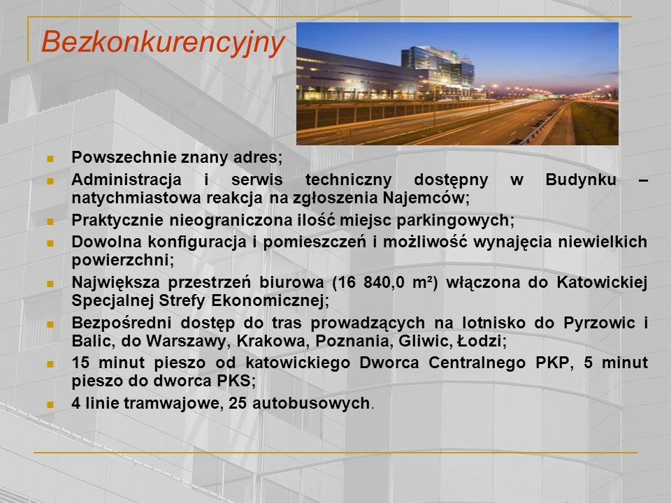Powszechnie znany adres; Administracja i serwis techniczny dostępny w Budynku – natychmiastowa reakcja na zgłoszenia Najemców; Praktycznie nieograniczona ilość miejsc parkingowych; Dowolna konfiguracja i pomieszczeń i możliwość wynajęcia niewielkich powierzchni; Największa przestrzeń biurowa (16 840,0 m²) włączona do Katowickiej Specjalnej Strefy Ekonomicznej; Bezpośredni dostęp do tras prowadzących na lotnisko do Pyrzowic i Balic, do Warszawy, Krakowa, Poznania, Gliwic, Łodzi; 15 minut pieszo od katowickiego Dworca Centralnego PKP, 5 minut pieszo do dworca PKS; 4 linie tramwajowe, 25 autobusowych.