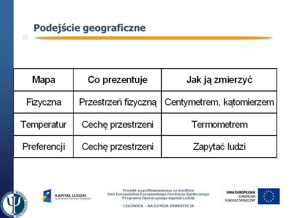 12 Projekt współfinansowany ze środków Unii Europejskiej Europejskiego Funduszu Społecznego Programu Operacyjnego Kapitał Ludzki CZŁOWIEK – NAJLEPSZA INWESTYCJA Podejście geograficzne