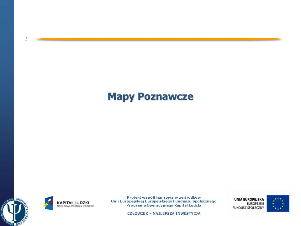 3 Projekt współfinansowany ze środków Unii Europejskiej Europejskiego Funduszu Społecznego Programu Operacyjnego Kapitał Ludzki CZŁOWIEK – NAJLEPSZA INWESTYCJA Mapy poznawcze - historia Pierwsze badania nad uczeniem się przestrzeni fizycznej: Tnowbridge (1913) Peterson (1920) Thorndike (1935) Pierwsze użycie terminu Mapa Poznawcza (Cognitive Map): Tolman (1948) – badania na szczurach odnajdujących obejście drogi w labiryncie