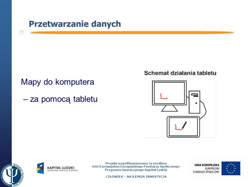25 Projekt współfinansowany ze środków Unii Europejskiej Europejskiego Funduszu Społecznego Programu Operacyjnego Kapitał Ludzki CZŁOWIEK – NAJLEPSZA INWESTYCJA Przetwarzanie danych Mapy do komputera – za pomocą tabletu