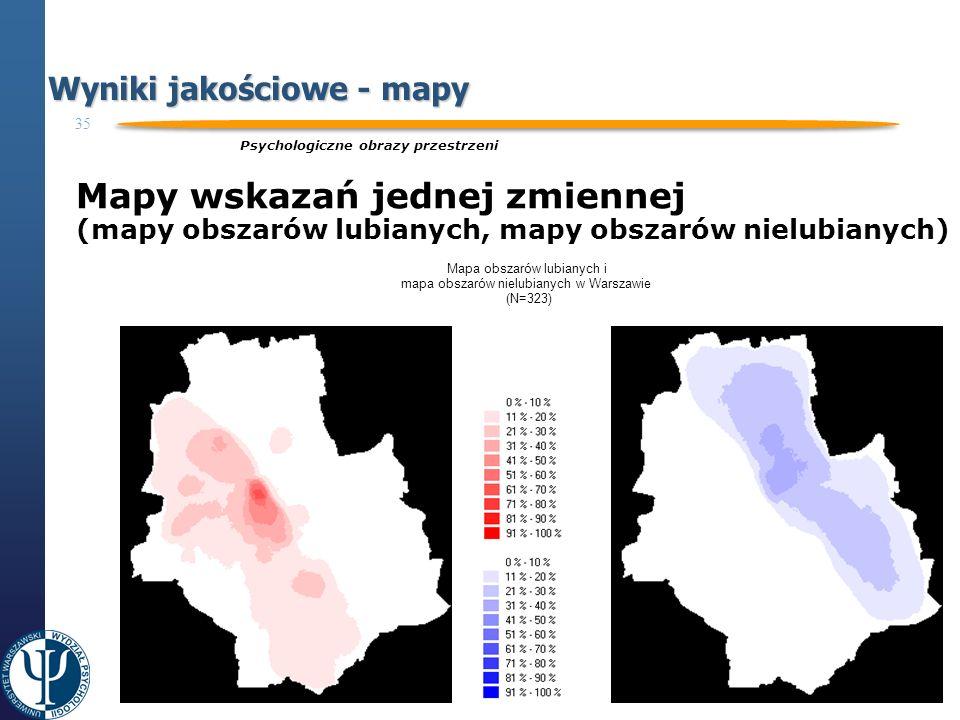35 Projekt współfinansowany ze środków Unii Europejskiej Europejskiego Funduszu Społecznego Programu Operacyjnego Kapitał Ludzki CZŁOWIEK – NAJLEPSZA INWESTYCJA Wyniki jakościowe - mapy Psychologiczne obrazy przestrzeni Mapy wskazań jednej zmiennej (mapy obszarów lubianych, mapy obszarów nielubianych) Mapa obszarów lubianych i mapa obszarów nielubianych w Warszawie (N=323)