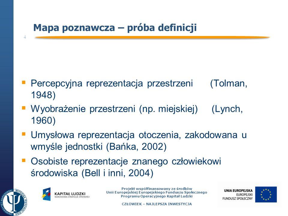 5 Projekt współfinansowany ze środków Unii Europejskiej Europejskiego Funduszu Społecznego Programu Operacyjnego Kapitał Ludzki CZŁOWIEK – NAJLEPSZA INWESTYCJA Kewin Lynch – obraz miasta Przełom w badaniach – praca The Image of the City (1960) 5 elementów występujących na mapach poznawczych: punkty orientacyjne (landmarks) węzły (nodes) ścieżki (paths) krawędzie (edges) regiony (districts)