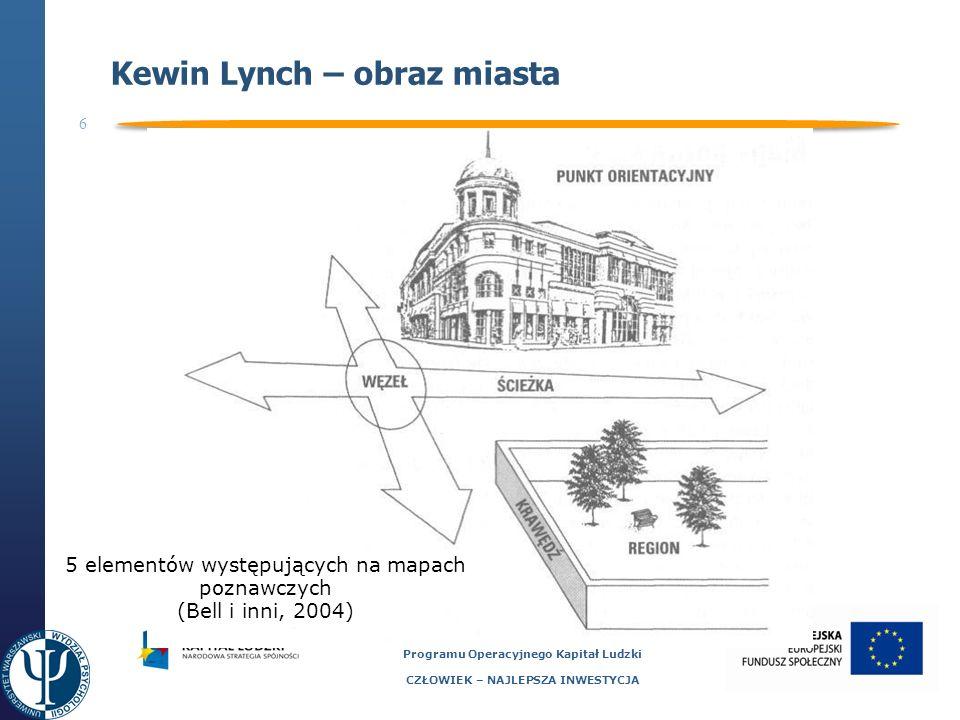 6 Projekt współfinansowany ze środków Unii Europejskiej Europejskiego Funduszu Społecznego Programu Operacyjnego Kapitał Ludzki CZŁOWIEK – NAJLEPSZA INWESTYCJA Kewin Lynch – obraz miasta 5 elementów występujących na mapach poznawczych (Bell i inni, 2004)