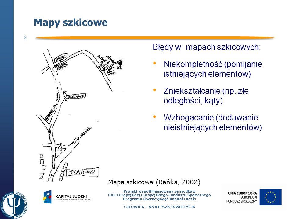 8 Projekt współfinansowany ze środków Unii Europejskiej Europejskiego Funduszu Społecznego Programu Operacyjnego Kapitał Ludzki CZŁOWIEK – NAJLEPSZA INWESTYCJA Mapy szkicowe Błędy w mapach szkicowych: Niekompletność (pomijanie istniejących elementów) Zniekształcanie (np.