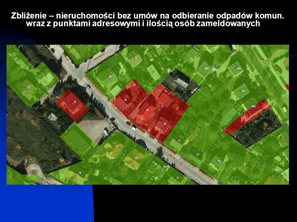 Zbliżenie – nieruchomości bez umów na odbieranie odpadów komun.