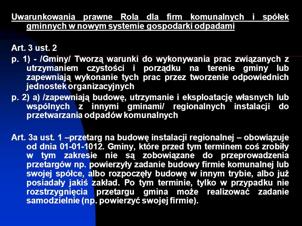 Uwarunkowania prawne Rola dla firm komunalnych i spółek gminnych w nowym systemie gospodarki odpadami Art.