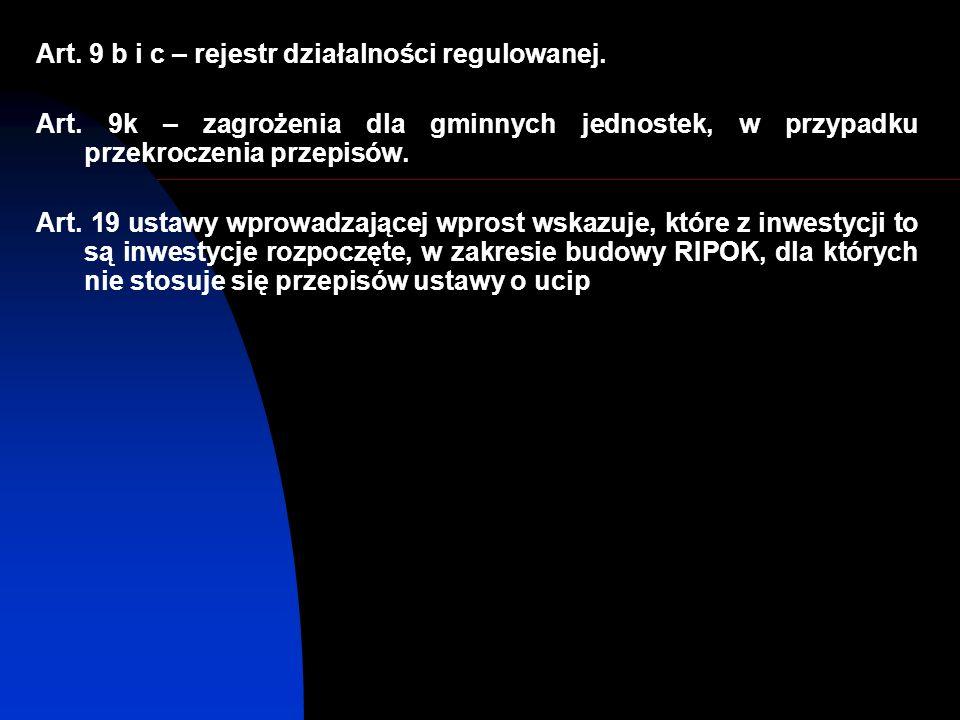 Art. 9 b i c – rejestr działalności regulowanej. Art.
