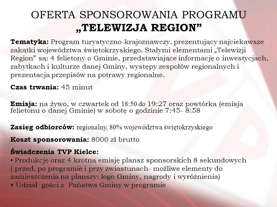 Tematyka: Program turystyczno-krajoznawczy, prezentujący najciekawsze zakątki województwa świętokrzyskiego. Stałymi elementami Telewizji Region są: 4