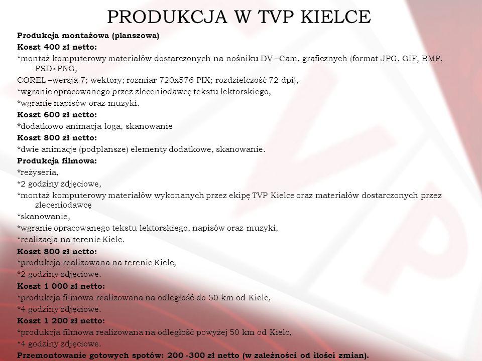 PRODUKCJA W TVP KIELCE Produkcja montażowa (planszowa) Koszt 400 zł netto: *montaż komputerowy materiałów dostarczonych na nośniku DV –Cam, graficznyc
