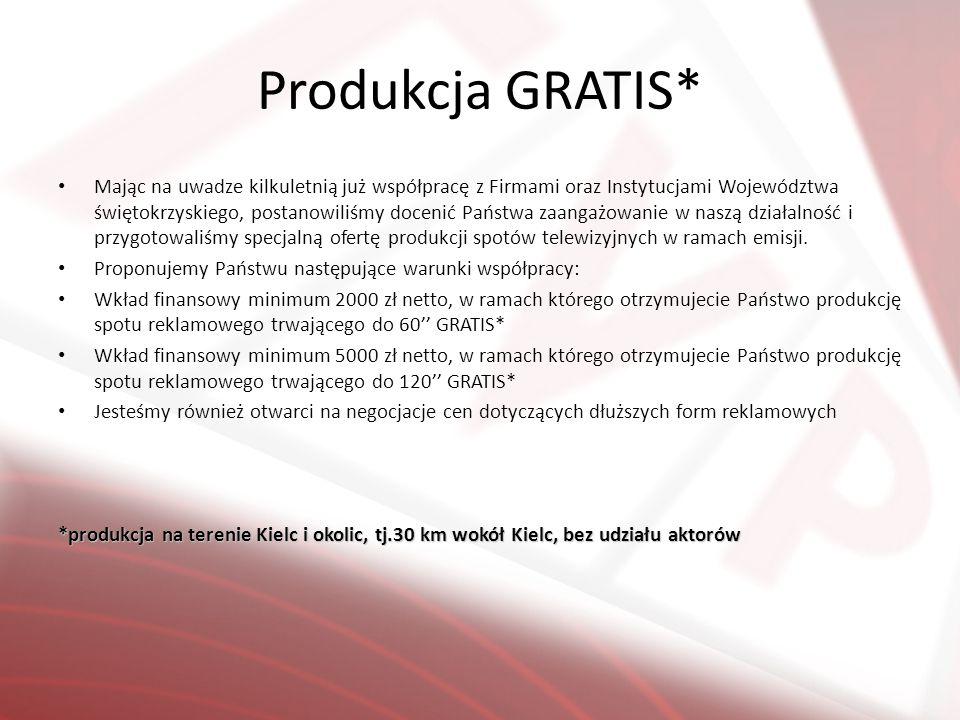 Produkcja GRATIS* Mając na uwadze kilkuletnią już współpracę z Firmami oraz Instytucjami Województwa świętokrzyskiego, postanowiliśmy docenić Państwa