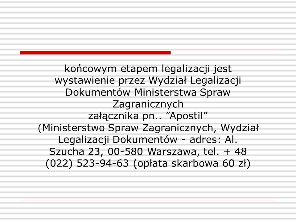 końcowym etapem legalizacji jest wystawienie przez Wydział Legalizacji Dokumentów Ministerstwa Spraw Zagranicznych załącznika pn.. Apostil (Ministerst