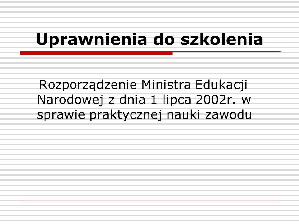 Uprawnienia do szkolenia Rozporządzenie Ministra Edukacji Narodowej z dnia 1 lipca 2002r. w sprawie praktycznej nauki zawodu
