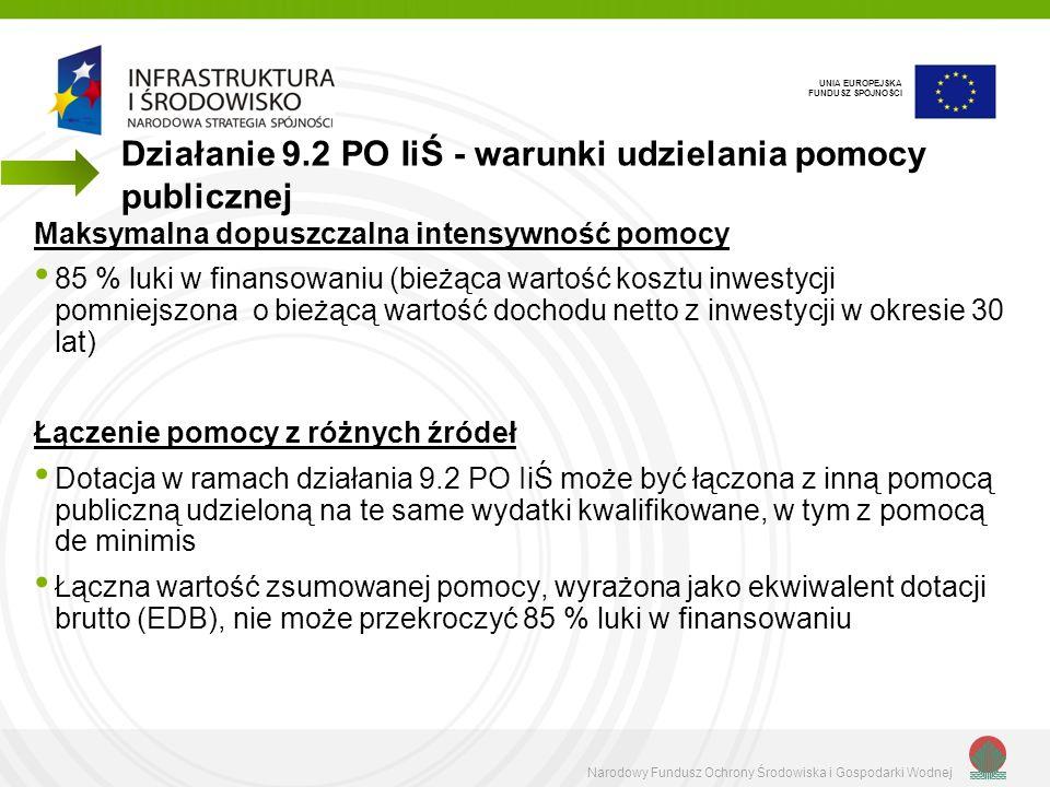 Narodowy Fundusz Ochrony Środowiska i Gospodarki Wodnej UNIA EUROPEJSKA FUNDUSZ SPÓJNOŚCI Każdą inną otrzymaną lub planowaną pomoc publiczną, należy wykazać w pkt G.1 wniosku o dofinansowanie Inną pomoc, ale tylko już otrzymaną należy dodatkowo wykazać w załączniku do wniosku: Informacje wymagane zgodnie z rozporządzeniem Rady Ministrów z dnia 29 marca 2010 r.