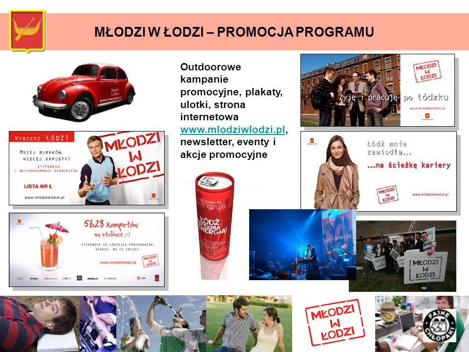 MŁODZI W ŁODZI – PROMOCJA PROGRAMU Outdoorowe kampanie promocyjne, plakaty, ulotki, strona internetowa www.mlodziwlodzi.pl, newsletter, eventy i akcje