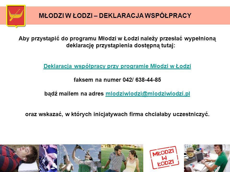 Aby przystąpić do programu Młodzi w Łodzi należy przesłać wypełnioną deklarację przystąpienia dostępną tutaj: Deklaracja współpracy przy programie Mło