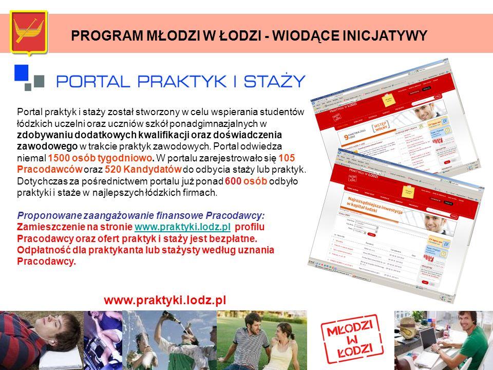 PROGRAM MŁODZI W ŁODZI - WIODĄCE INICJATYWY Portal praktyk i staży został stworzony w celu wspierania studentów łódzkich uczelni oraz uczniów szkół po