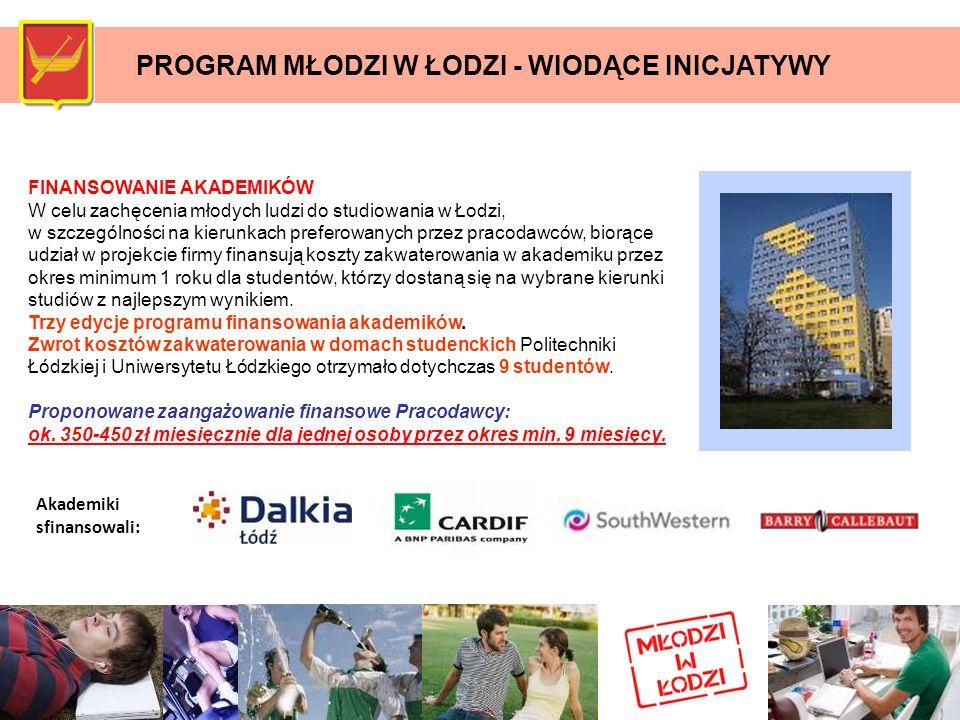 PROGRAM MŁODZI W ŁODZI - WIODĄCE INICJATYWY FINANSOWANIE AKADEMIKÓW W celu zachęcenia młodych ludzi do studiowania w Łodzi, w szczególności na kierunk