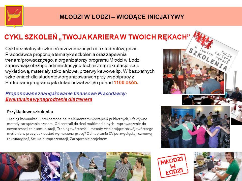 CYKL SZKOLEŃ TWOJA KARIERA W TWOICH RĘKACH Cykl bezpłatnych szkoleń przeznaczonych dla studentów, gdzie Pracodawca proponuje tematykę szkolenia oraz z