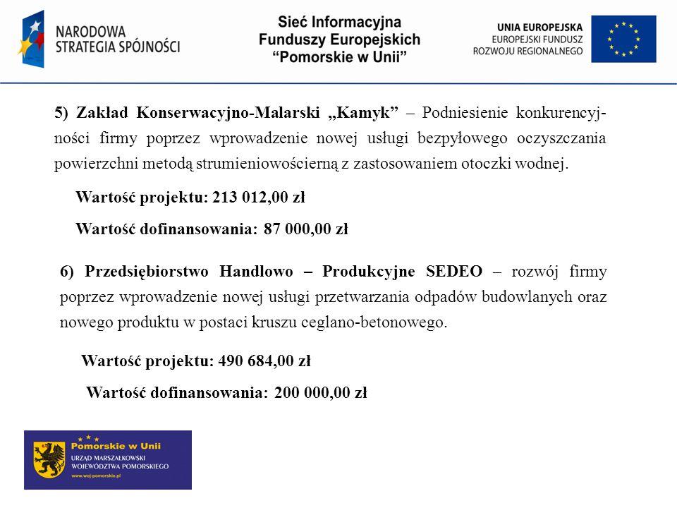 5) Zakład Konserwacyjno-Malarski Kamyk – Podniesienie konkurencyj- ności firmy poprzez wprowadzenie nowej usługi bezpyłowego oczyszczania powierzchni
