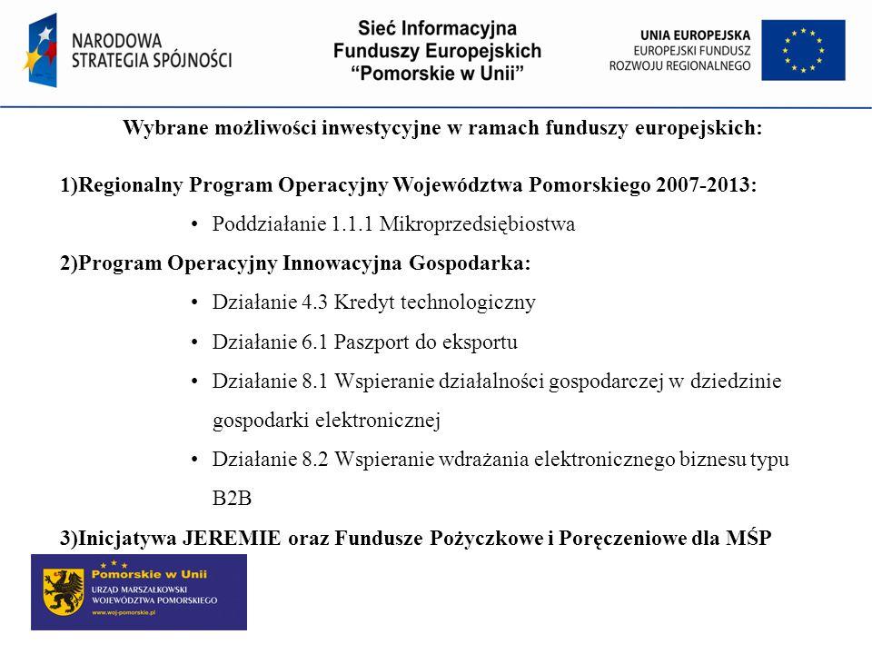 Wybrane możliwości inwestycyjne w ramach funduszy europejskich: 1)Regionalny Program Operacyjny Województwa Pomorskiego 2007-2013: Poddziałanie 1.1.1