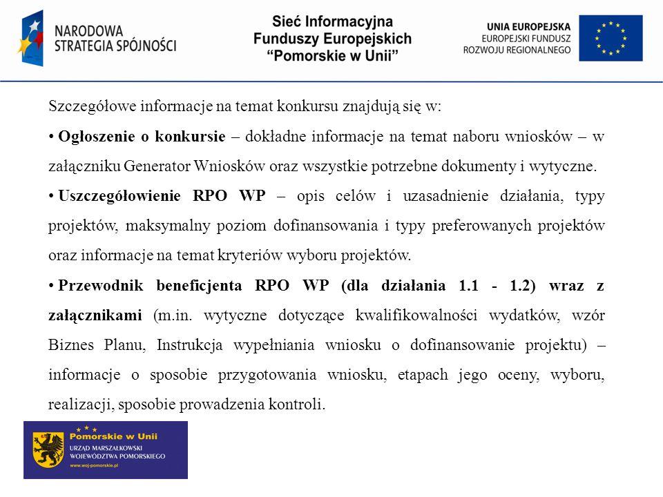 Szczegółowe informacje na temat konkursu znajdują się w: Ogłoszenie o konkursie – dokładne informacje na temat naboru wniosków – w załączniku Generato
