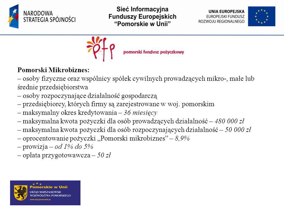 Pomorski Mikrobiznes: – osoby fizyczne oraz wspólnicy spółek cywilnych prowadzących mikro-, małe lub średnie przedsiębiorstwa – osoby rozpoczynające d