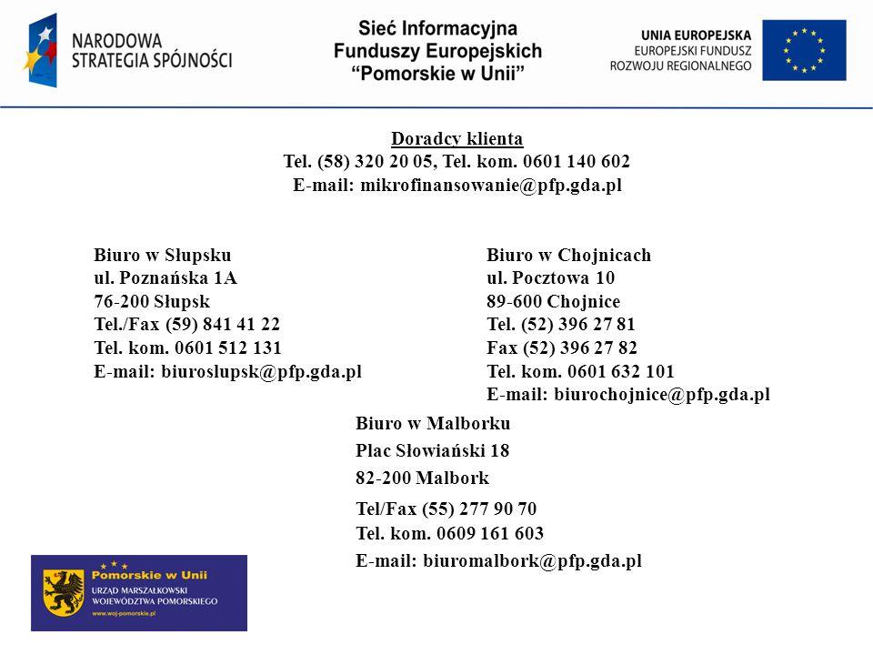 Doradcy klienta Tel. (58) 320 20 05, Tel. kom. 0601 140 602 E-mail: mikrofinansowanie@pfp.gda.pl Biuro w SłupskuBiuro w Chojnicach ul. Poznańska 1Aul.