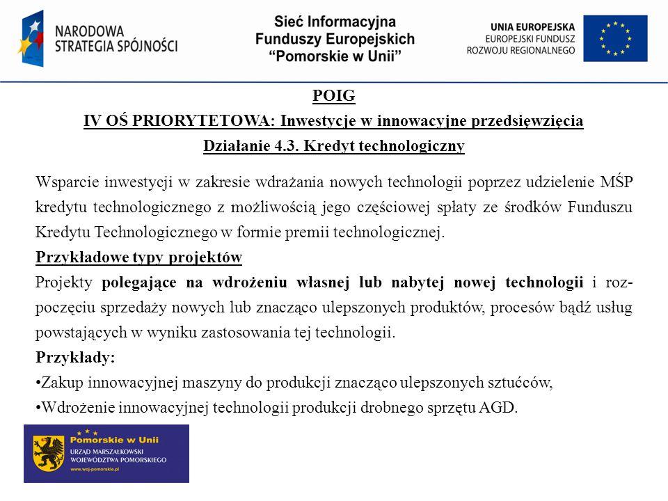 POIG IV OŚ PRIORYTETOWA: Inwestycje w innowacyjne przedsięwzięcia Działanie 4.3. Kredyt technologiczny Wsparcie inwestycji w zakresie wdrażania nowych