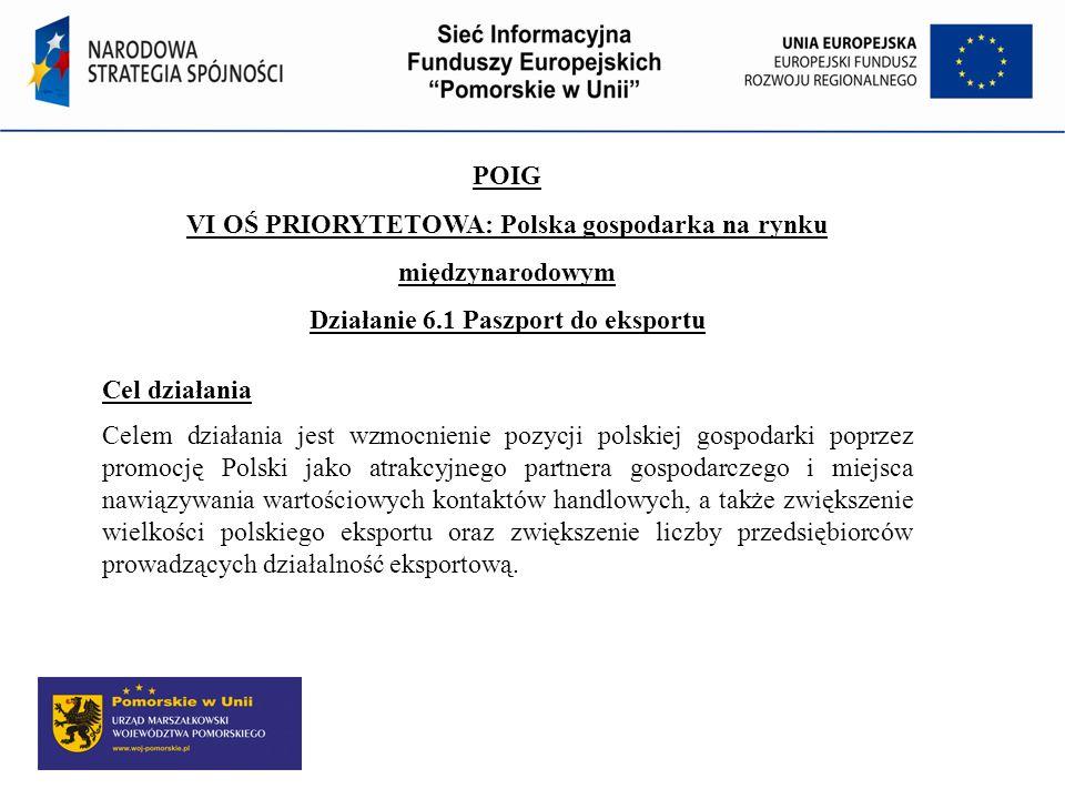 POIG VI OŚ PRIORYTETOWA: Polska gospodarka na rynku międzynarodowym Działanie 6.1 Paszport do eksportu Cel działania Celem działania jest wzmocnienie