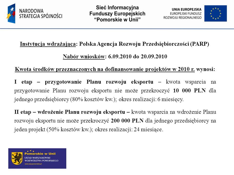 Instytucja wdrażająca: Polska Agencja Rozwoju Przedsiębiorczości (PARP) Nabór wniosków: 6.09.2010 do 20.09.2010 Kwota środków przeznaczonych na dofina