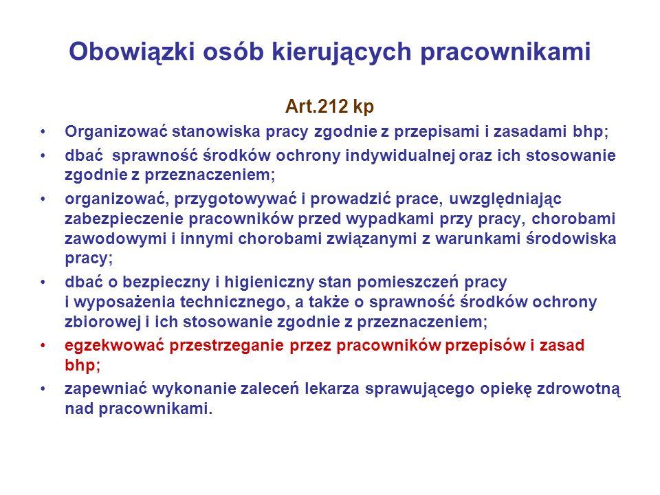 Obowiązki osób kierujących pracownikami Art.212 kp Organizować stanowiska pracy zgodnie z przepisami i zasadami bhp; dbać sprawność środków ochrony in