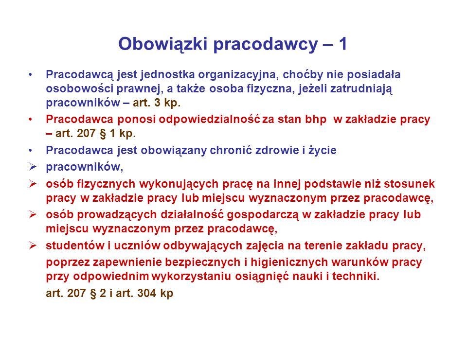 Obowiązki pracodawcy – 1 Pracodawcą jest jednostka organizacyjna, choćby nie posiadała osobowości prawnej, a także osoba fizyczna, jeżeli zatrudniają