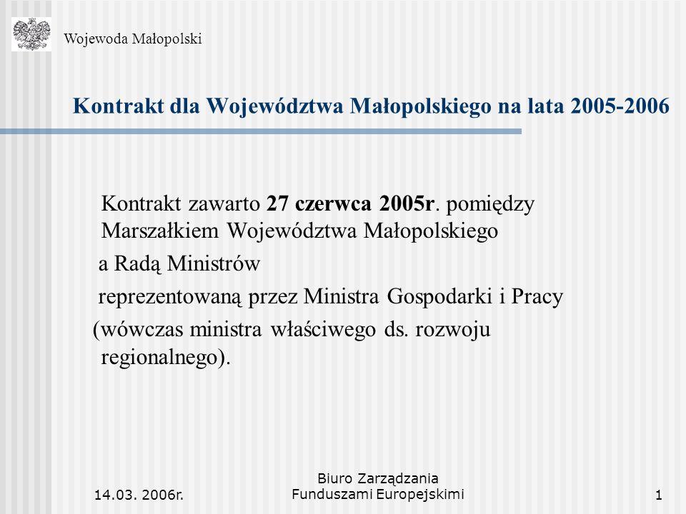 14.03. 2006r. Biuro Zarządzania Funduszami Europejskimi1 Kontrakt dla Województwa Małopolskiego na lata 2005-2006 Kontrakt zawarto 27 czerwca 2005r. p