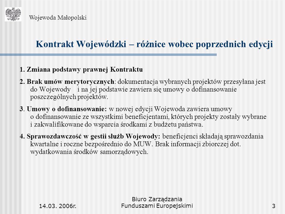 14.03. 2006r. Biuro Zarządzania Funduszami Europejskimi3 Kontrakt Wojewódzki – różnice wobec poprzednich edycji 1. Zmiana podstawy prawnej Kontraktu 2