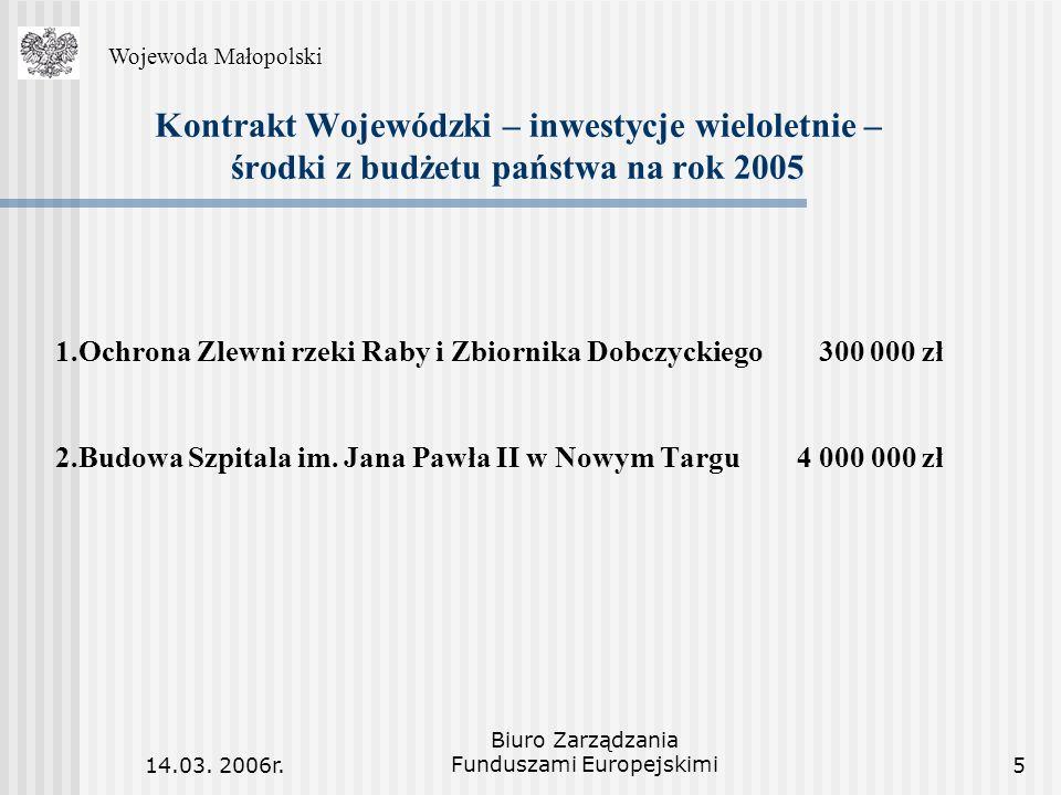14.03. 2006r. Biuro Zarządzania Funduszami Europejskimi5 Kontrakt Wojewódzki – inwestycje wieloletnie – środki z budżetu państwa na rok 2005 1.Ochrona