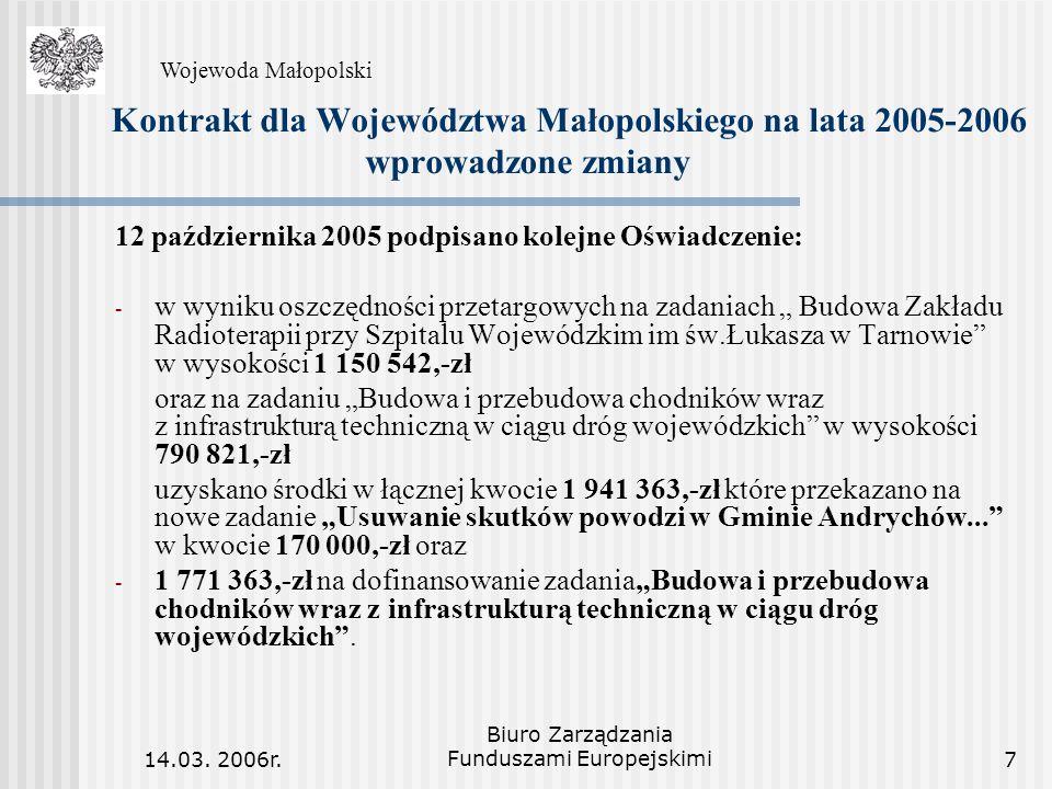 14.03. 2006r. Biuro Zarządzania Funduszami Europejskimi7 Kontrakt dla Województwa Małopolskiego na lata 2005-2006 wprowadzone zmiany 12 października 2